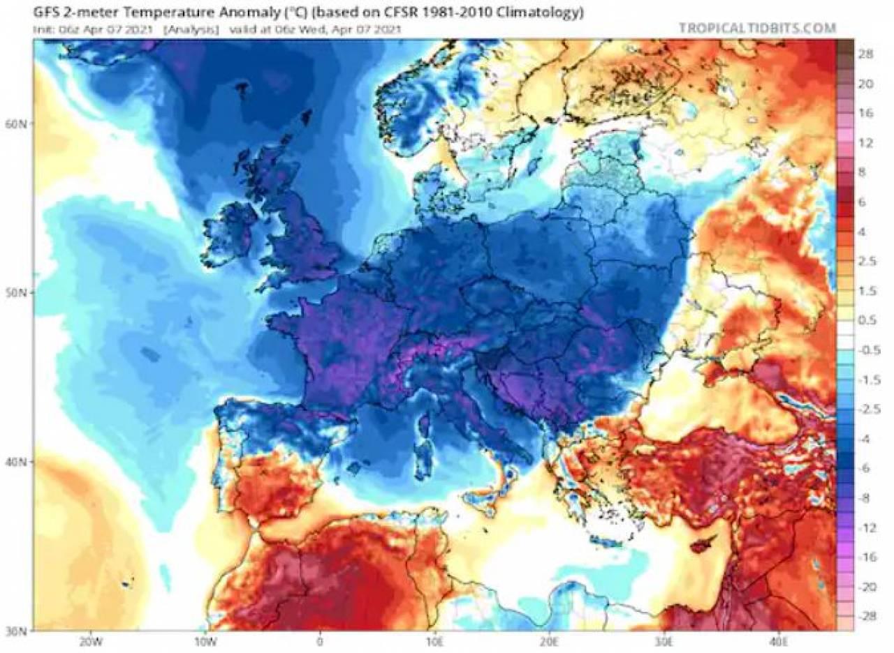 Anomalie termiche del 7 aprile su base trentennale