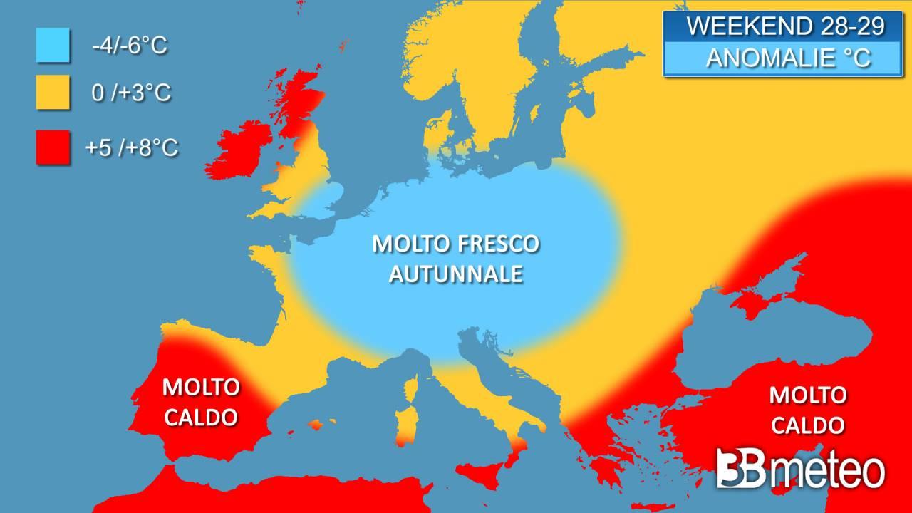 Anomalie termiche stimate per il weekend 28-29 agosto