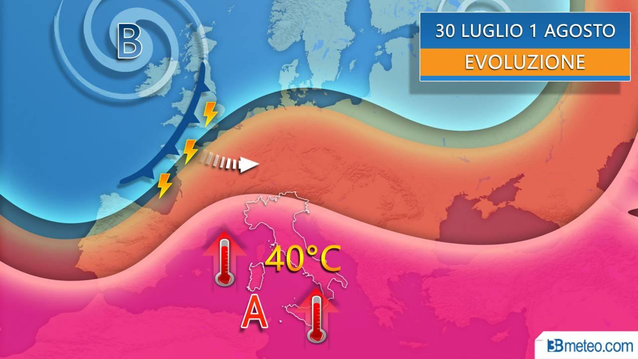 Anticiclone africano al top nei prossimi giorni con temperature fino a 40°C