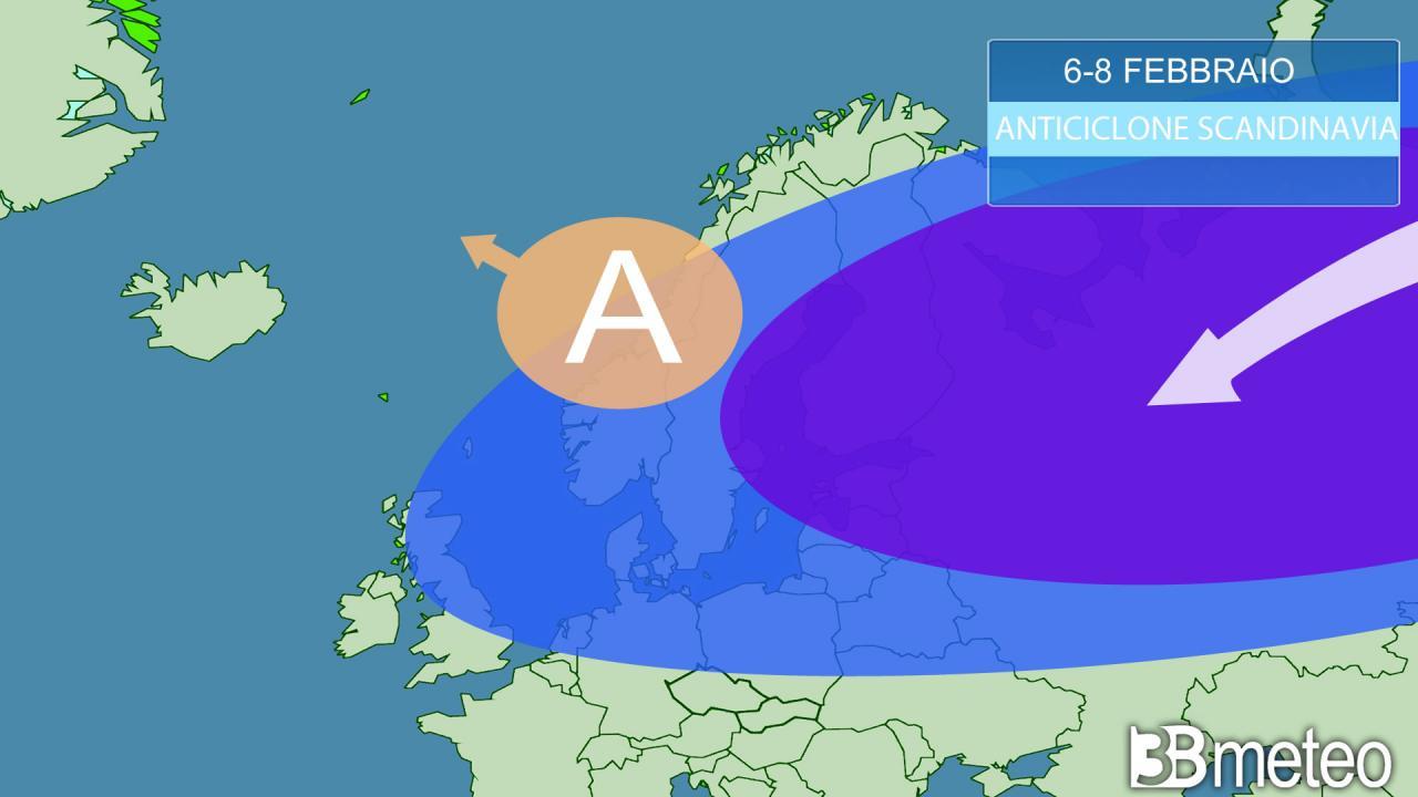 anticiclone in sviluppo sulla Scandinavia