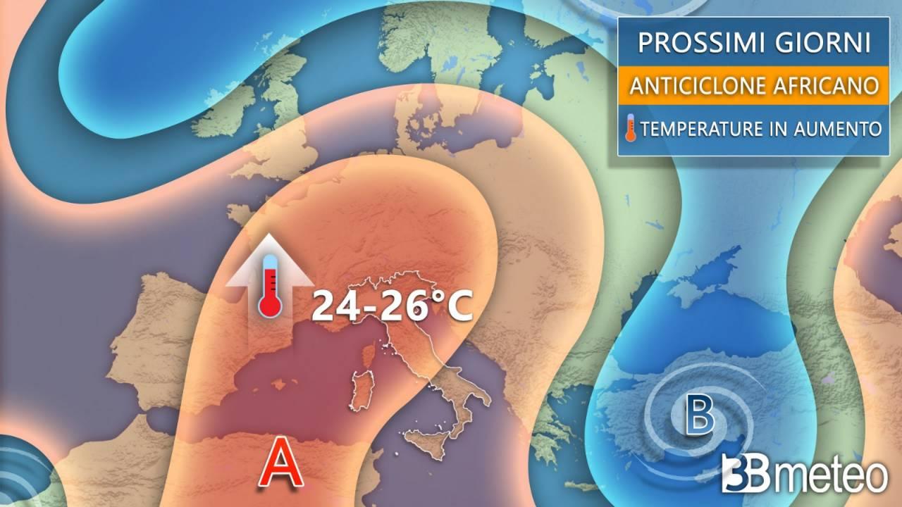 Anticiclone sempre più robusto in settimana, alimentato da correnti calde nord africane