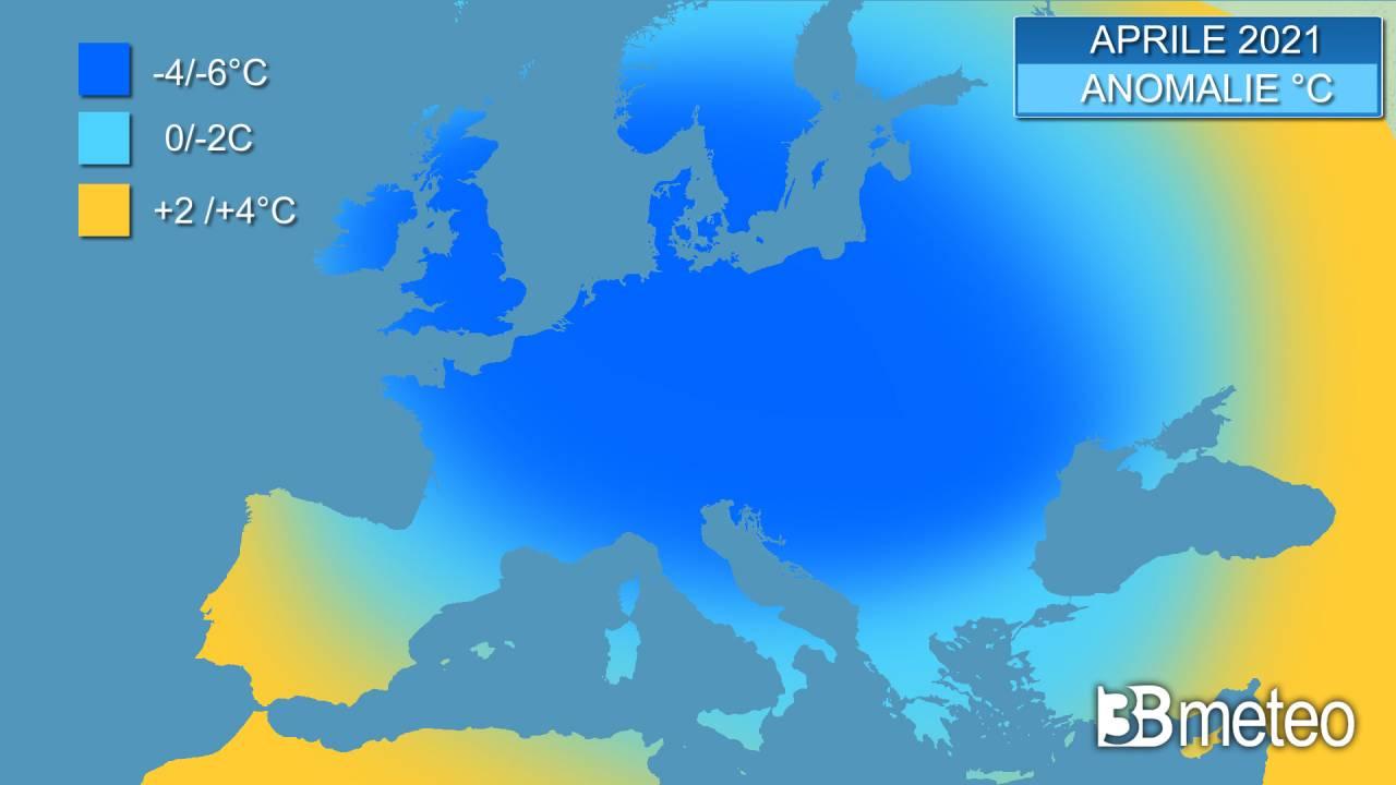 Aprile 2021 tra i più freddi degli ultimi decenni in Europa