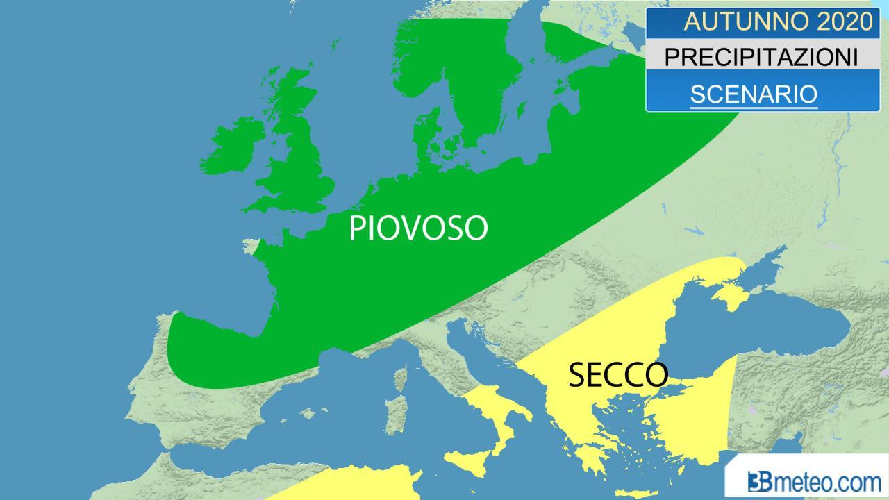autunno 2020, scenario precipitazioni atteso