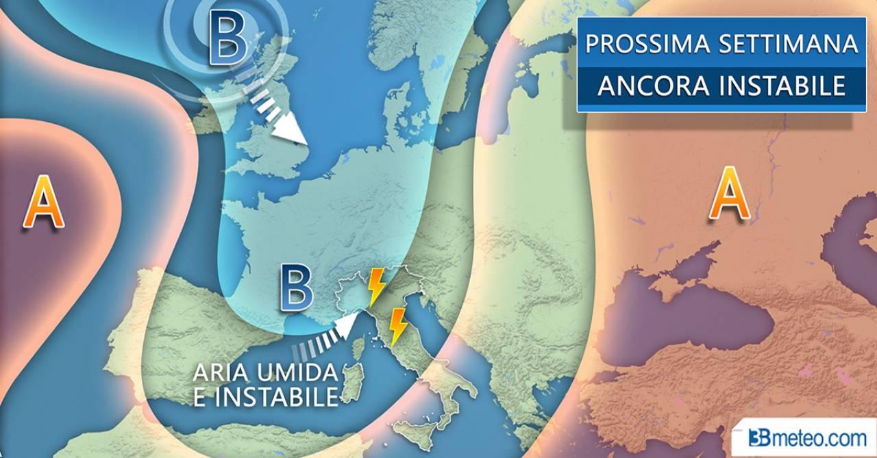Avvio di settimana ancora instabile sull'Italia