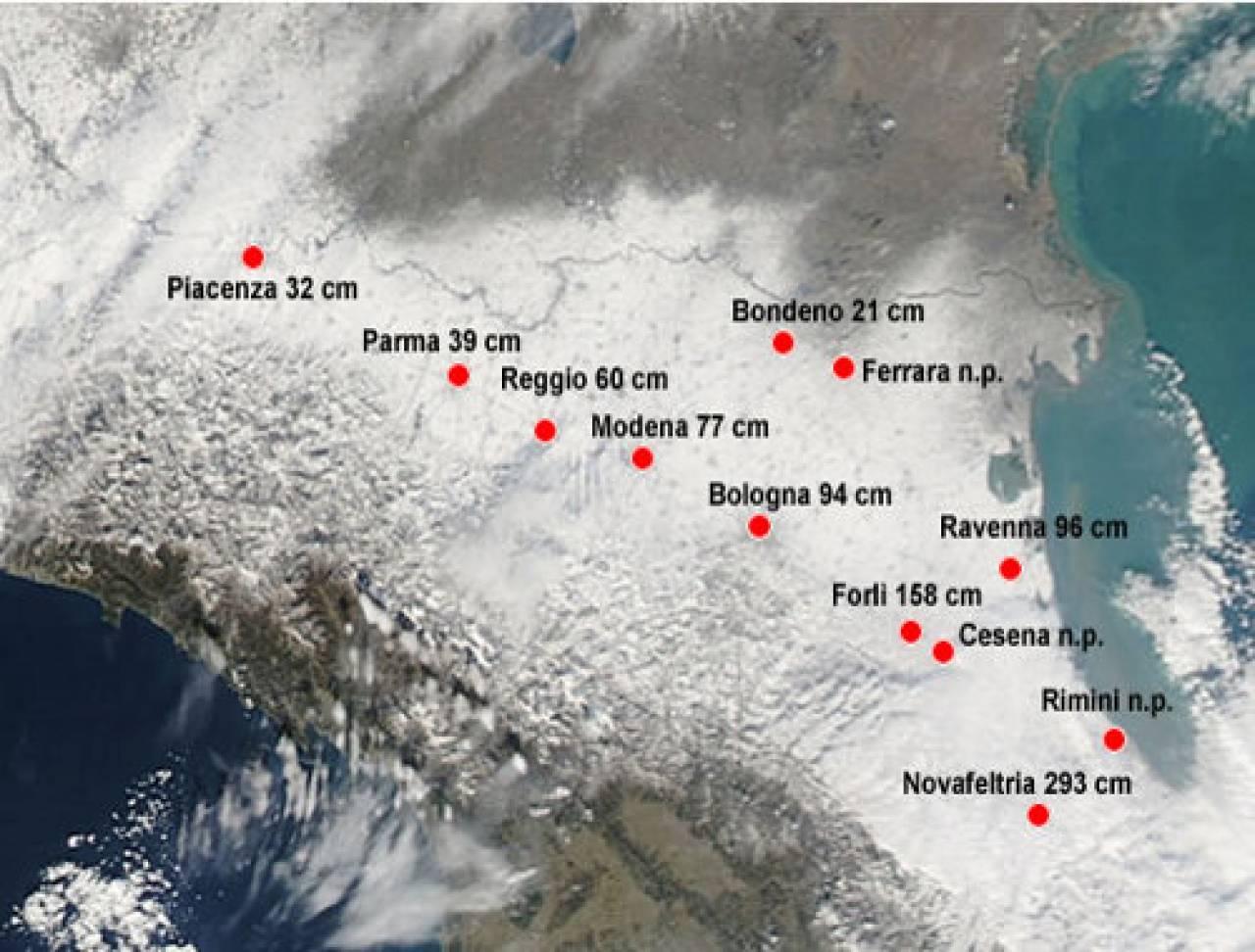 Neve emilia romagna resoconto nelle varie citt 3b meteo - 3b meteo bagno di romagna ...