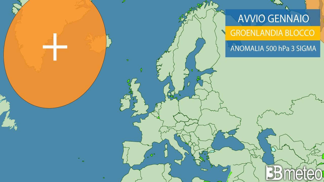 blocco anticiclonico sulla Groenlandia atteso