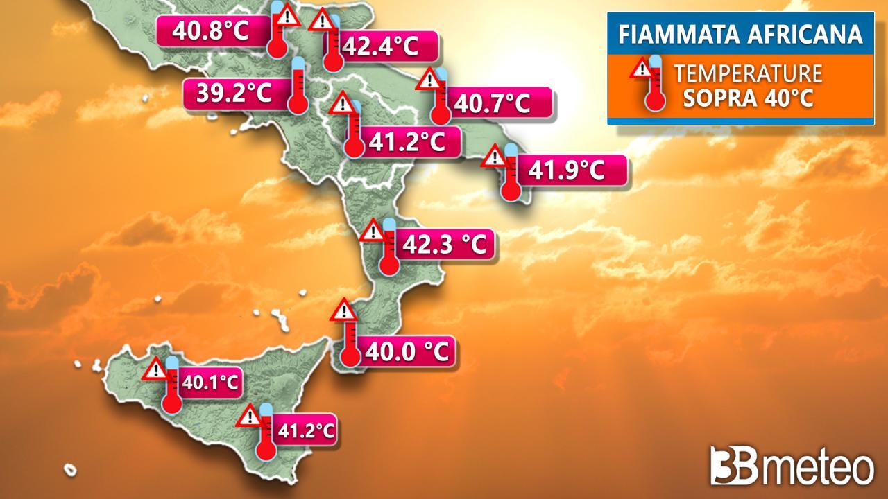 Caldo al Sud, temperature oltre i 40°C