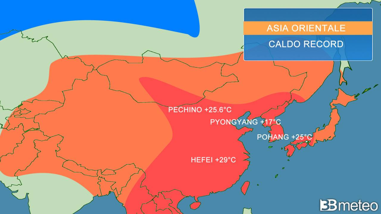 caldo record sull'Asia orientale