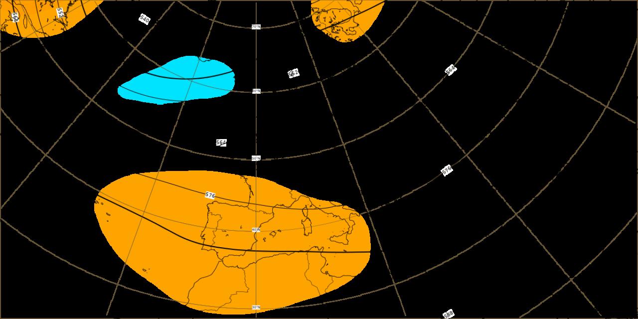 Carta delle anomalie di altezza di geopotenziale alla quota isobarica di 500hpa (dati ECMWF)