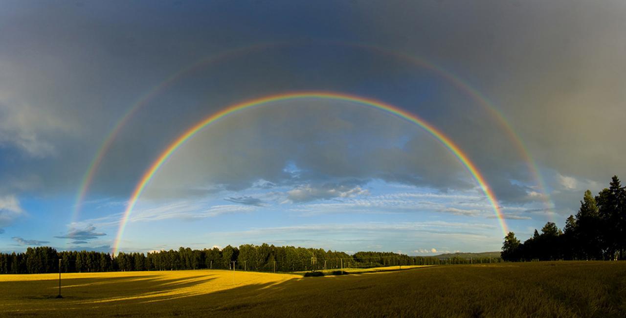 Condizione necessaria per vedere un arcobaleno è che: