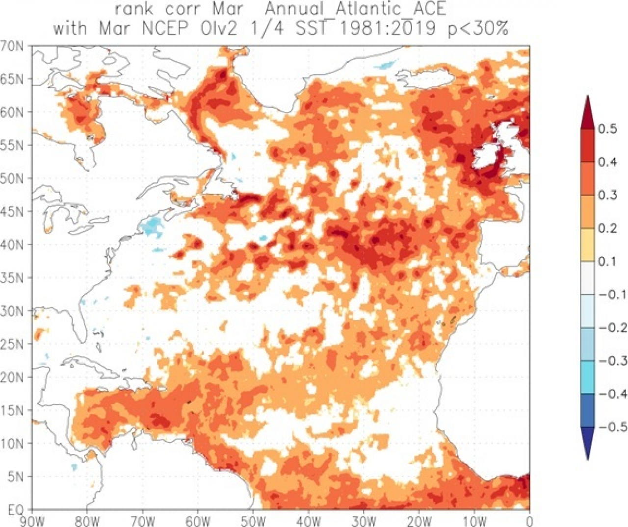 correlazione tra le anomalie ssta di marzo in atlantico e l'energia dei cicloni