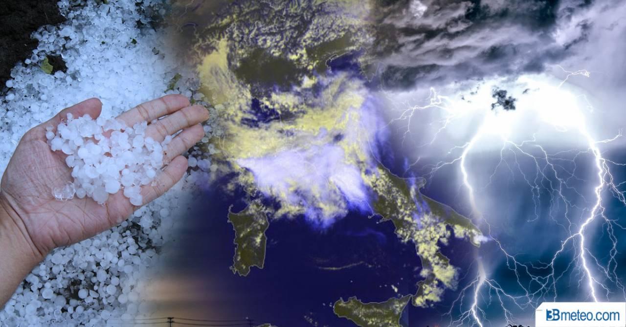 Cronaca meteo diretta: vortice sull'Italia con temporali, nubifragi e grandine