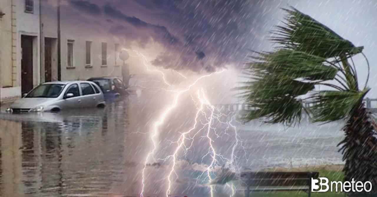 Cronaca meteo maltempo sull'Italia, alluvione a Crotone, pioggia neve e vento forte