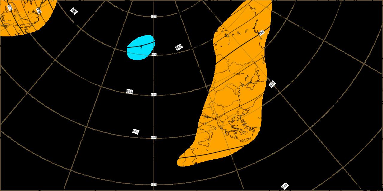 Dati ECMWF: anomalia altezza di geopotenziale a 500 hPa per la prima decade di ottobre