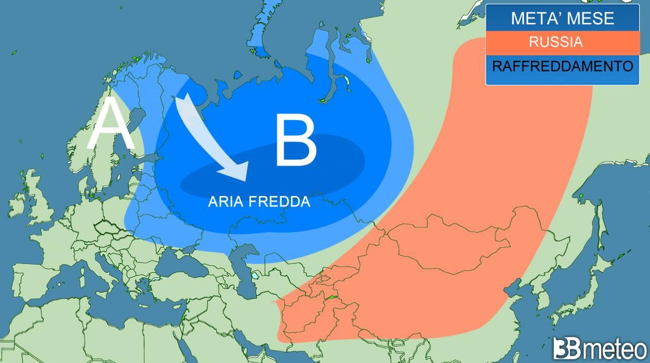 Deciso raffreddamento in vista per la Russia. Meteo invernale già a settembre