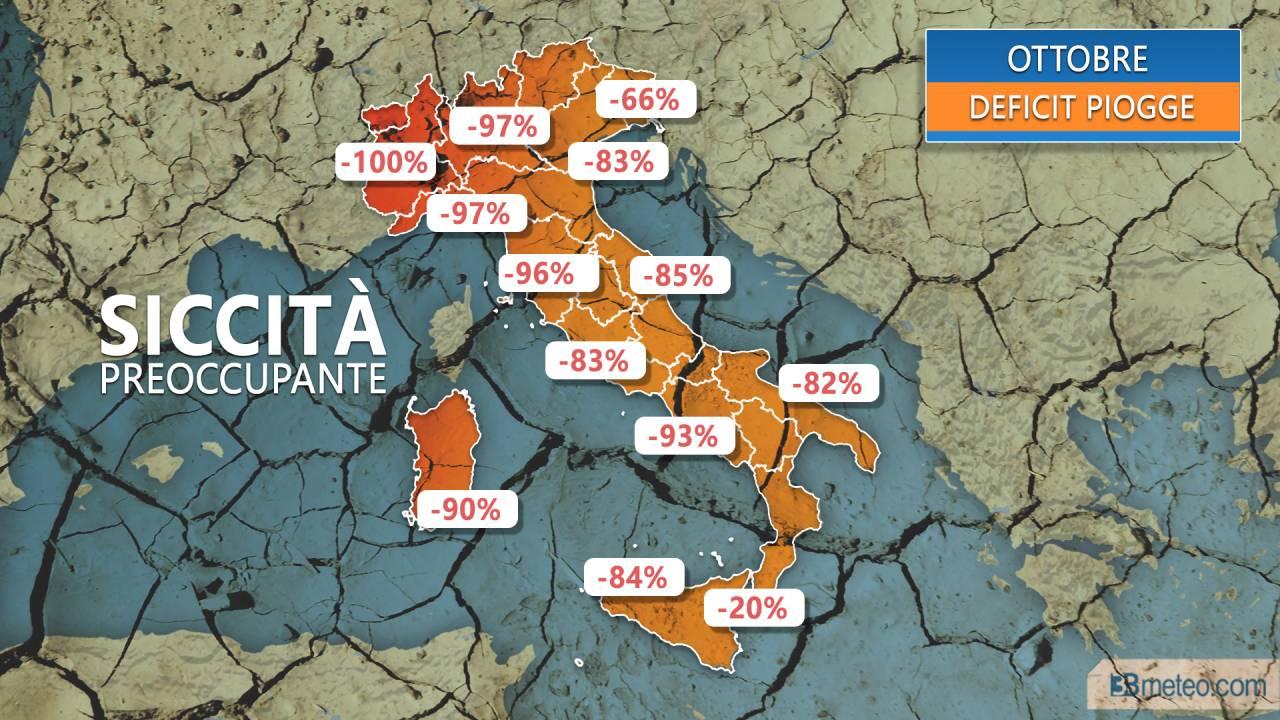 A OTTOBRE nemmeno una GOCCIA d'acqua- è emergenza SICCITA' sull'Italia (MAPPE)
