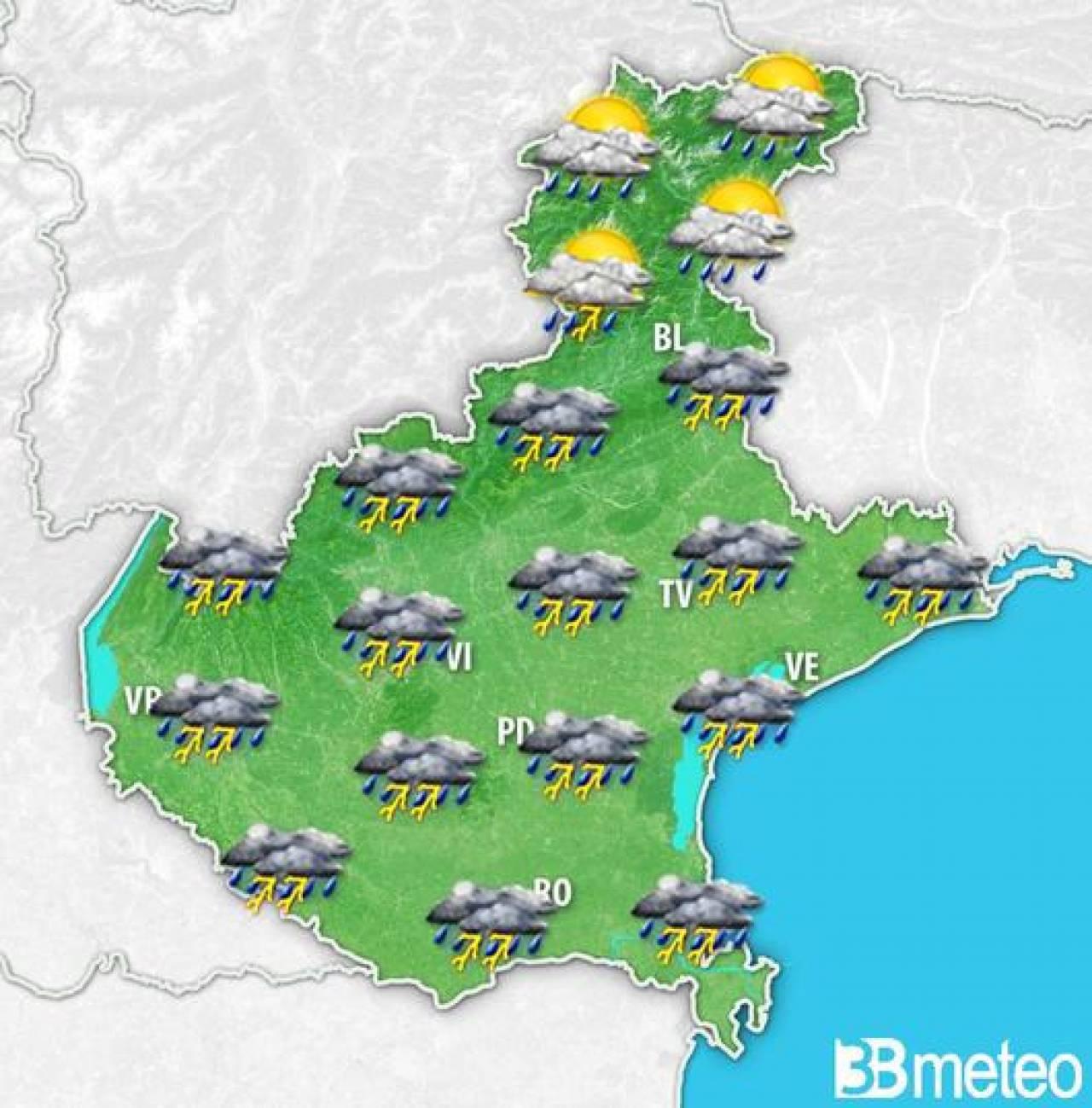 Domenica con temporali in Veneto