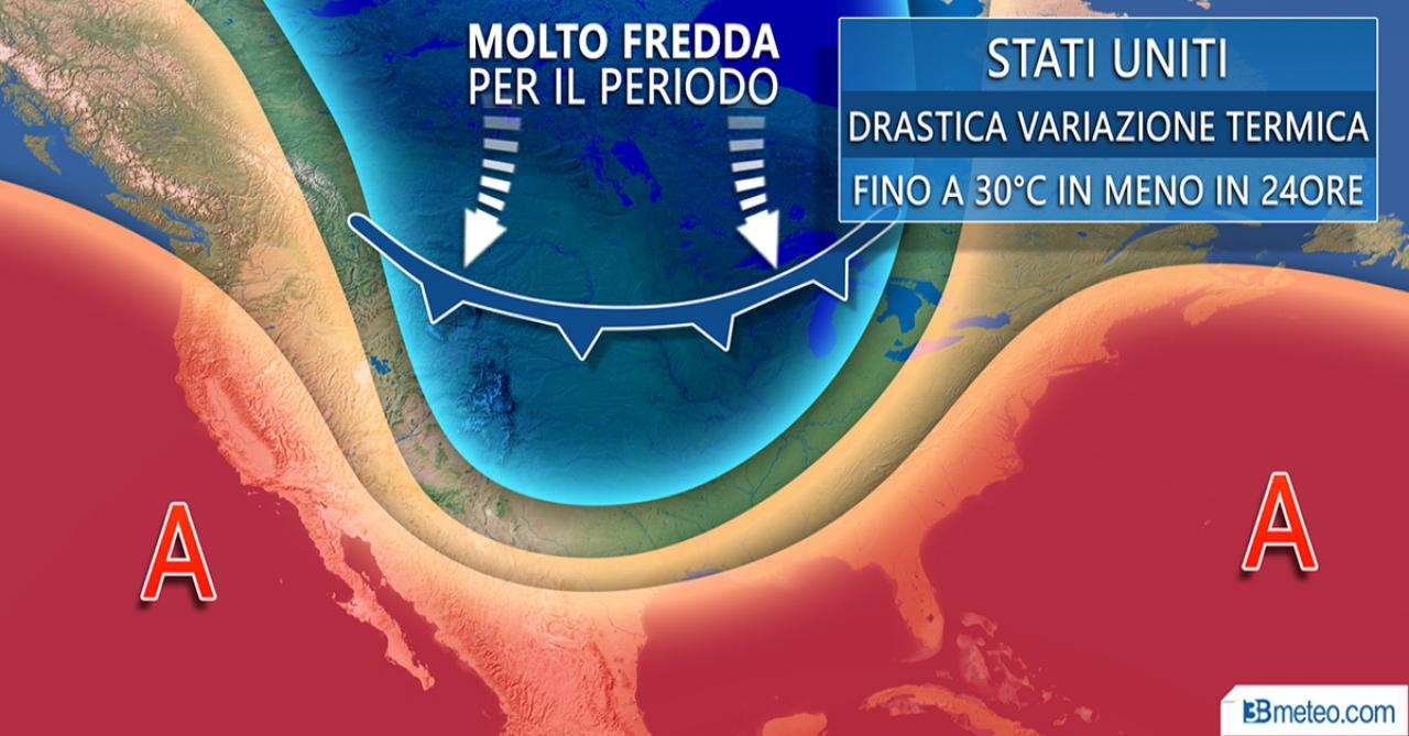 Drastica variazione termica negli States: fino a 30°C in meno in 24 ore