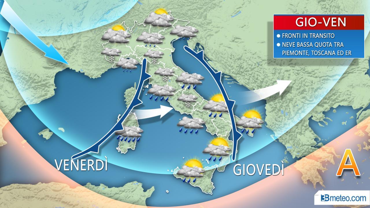 Meteo Italia. Attese 48 ore con piogge ma anche NEVE a bassa quota. Ecco dove