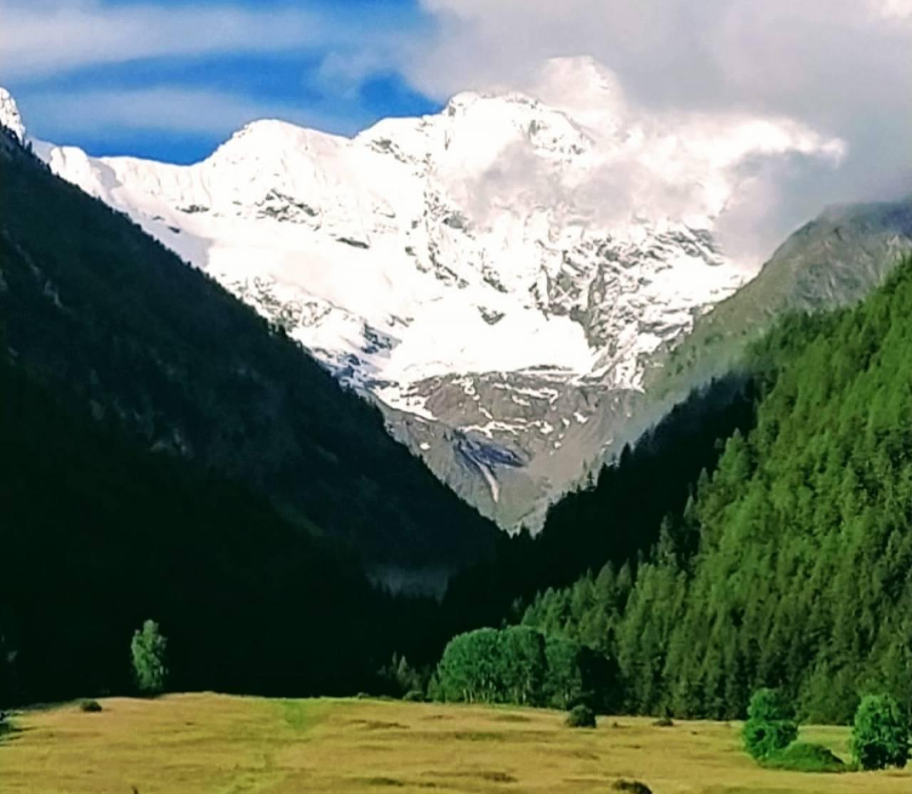 Ecco come si presentava il Gran Paradiso domenica mattina dal versante di Cogne (AO) dopo l'ultima nevicata di sabato
