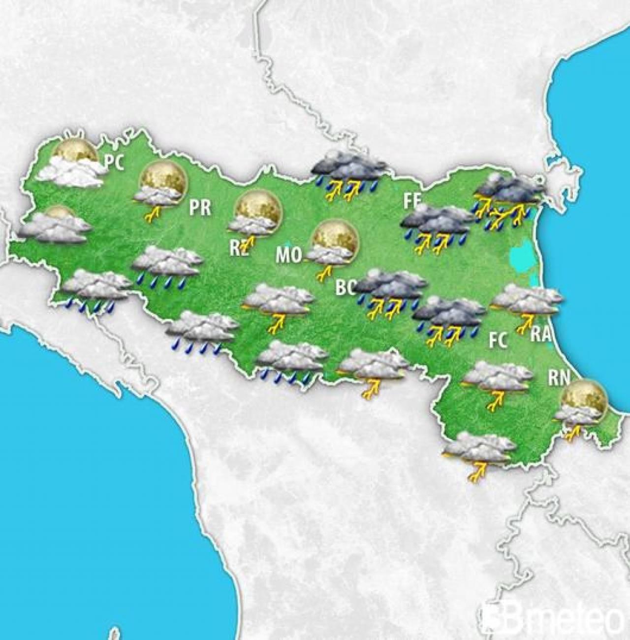 Ecco la situazione prevista sull'Emilia-Romagna nella serata di sabato 11 luglio.