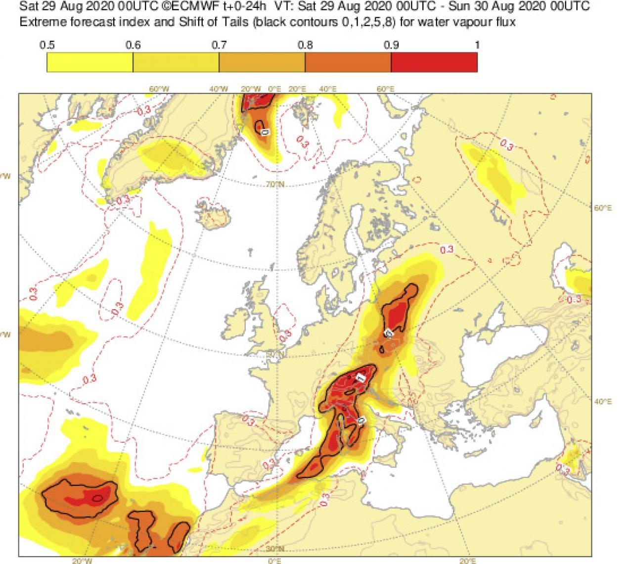 EFI water vapour flux by Ecmwf
