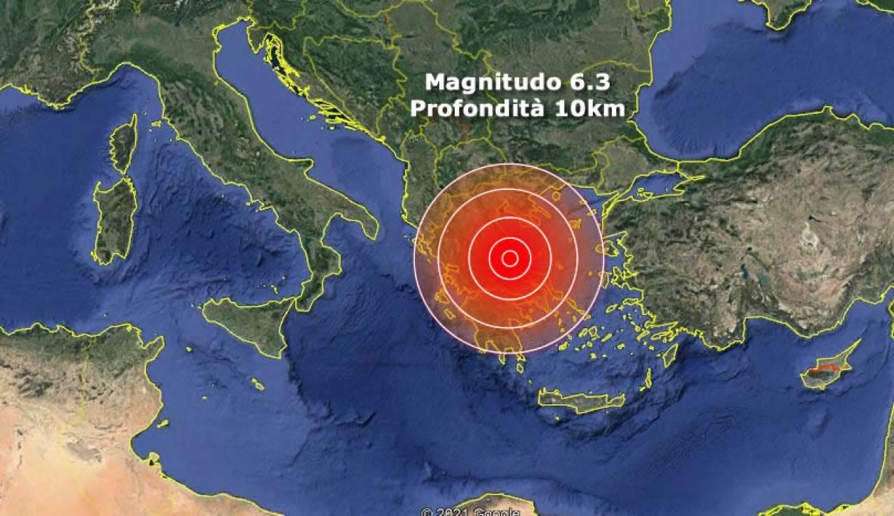 Epicentro e magnitudo del terremoto in Grecia