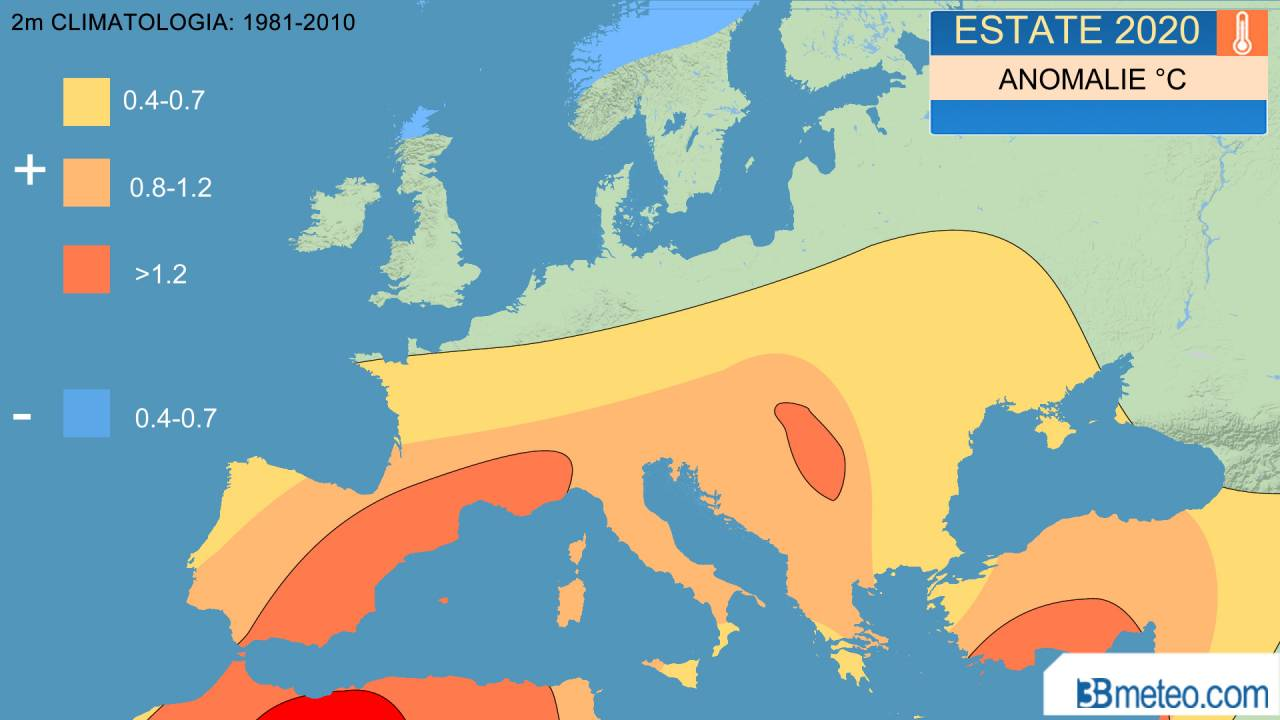 estate 2020: anomalie temperature attese a 2m