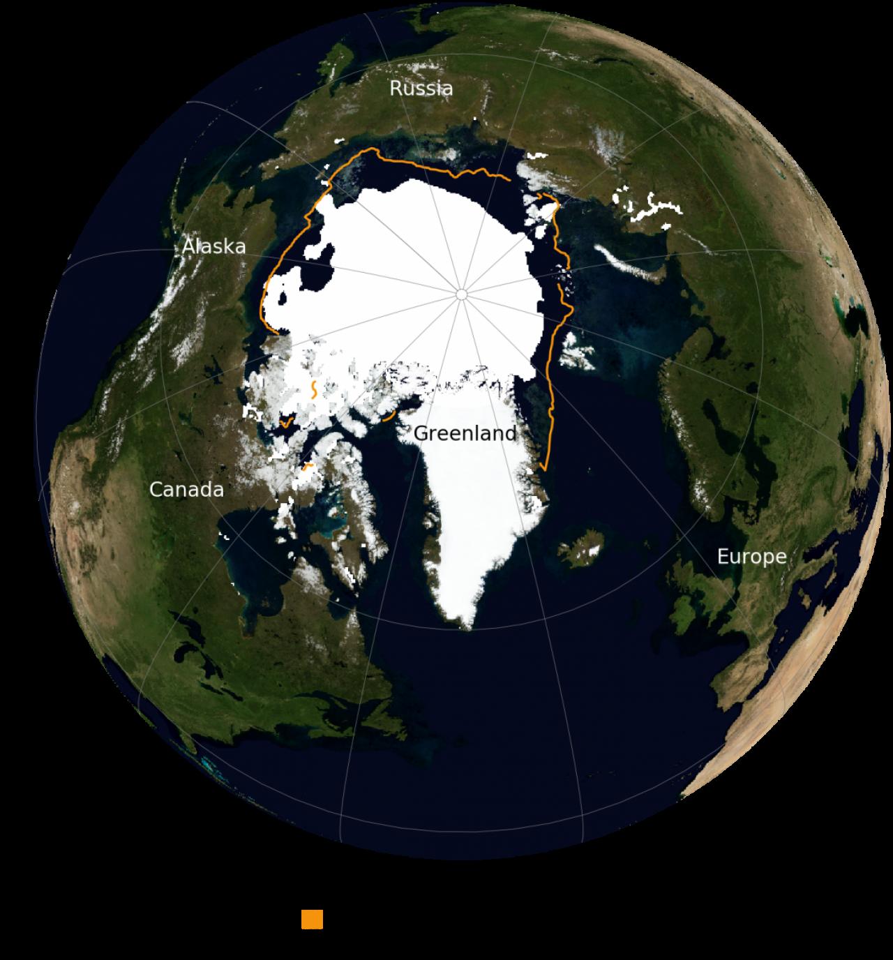 Estensione dei ghiacci artici il 16 settembre scorso, comparato con l'estensione media del periodo 1981-2010 (da NSDIC/NASA)