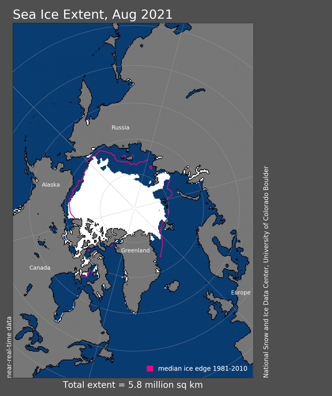 Estensione ghiacci marini artici ad Agosto - Credito: National Snow and Ice Data Center Immagine ad alta risoluzione