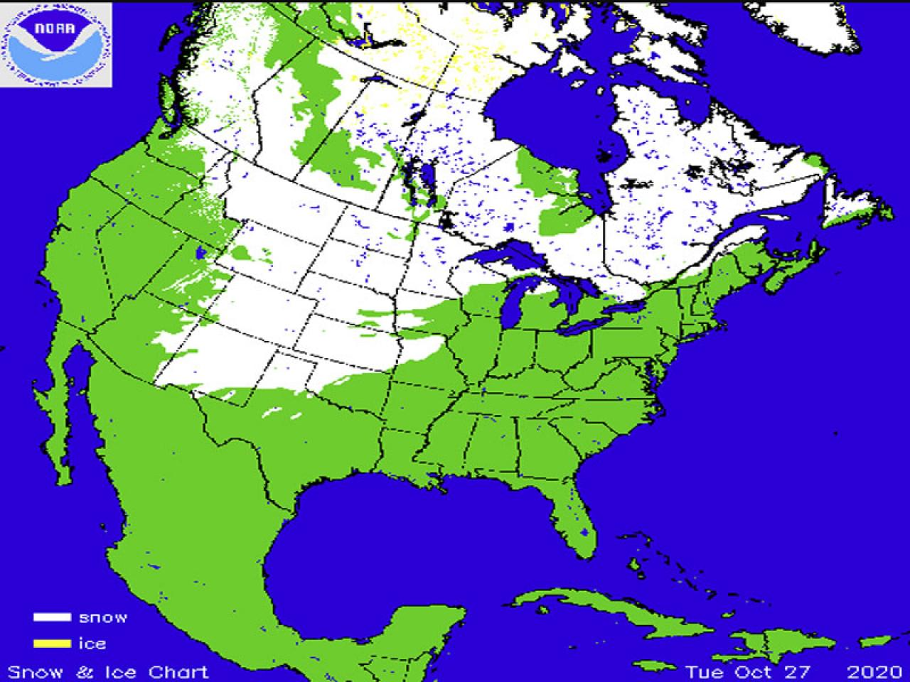 estensione neve nord America (fonte Noaa)