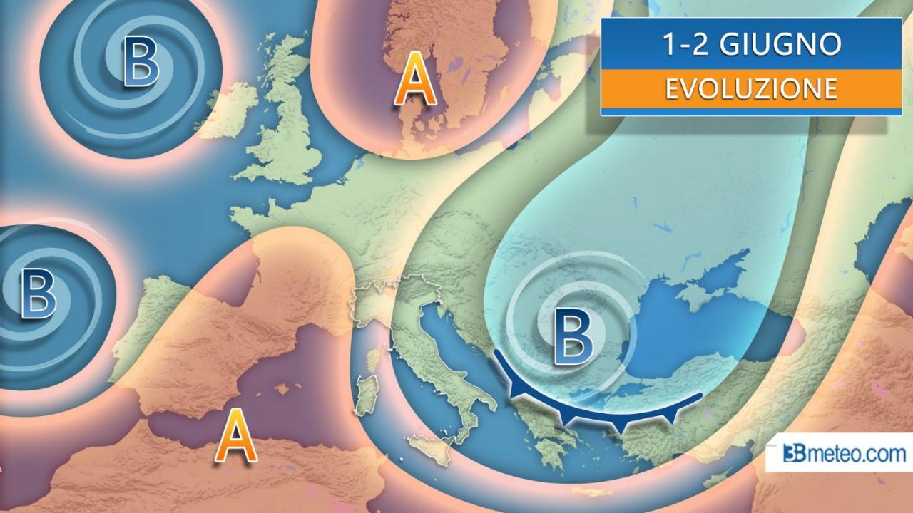 Evoluzione meteo 1-2 giugno