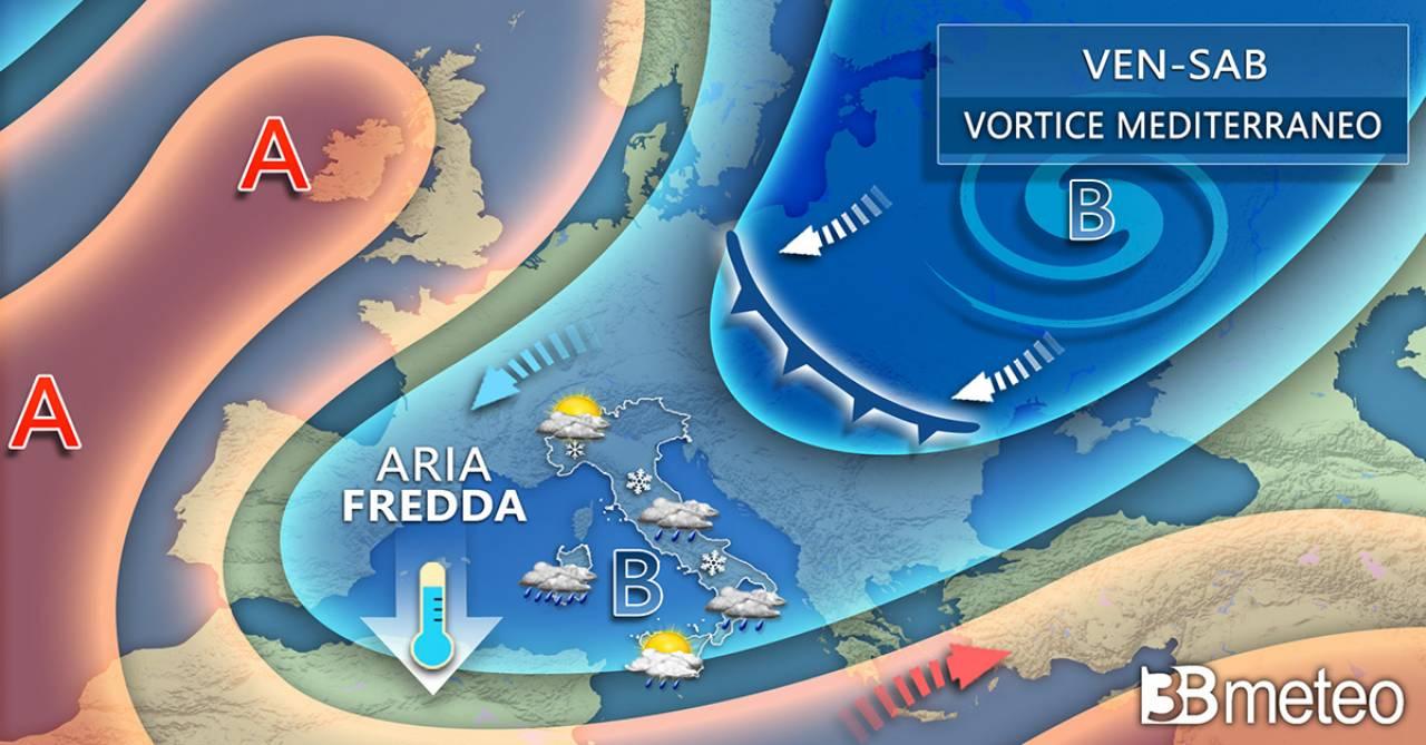 Evoluzione meteo da venerdì