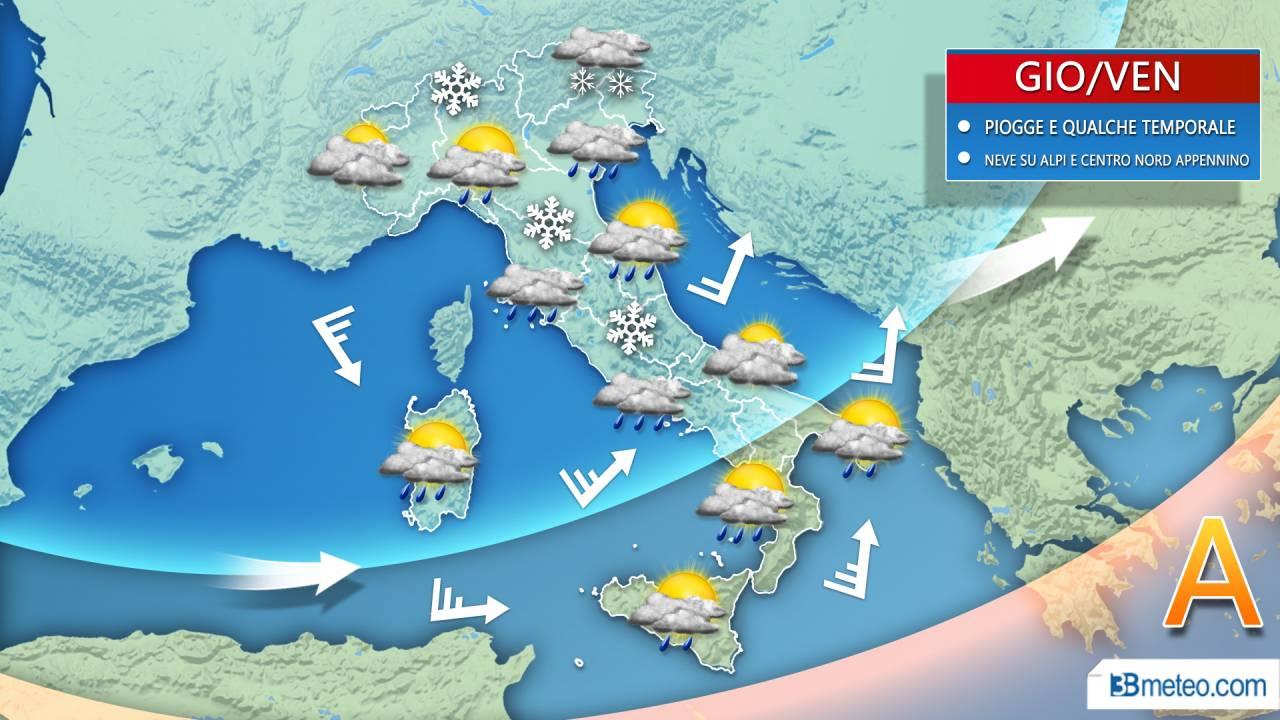 METEO Italia. Si cambia da GIOVEDI: qualche PIOGGIA anche al Centro-Nord, *NEVE* sulle Alpi