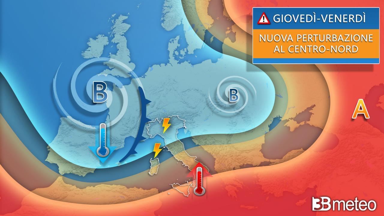 Evoluzione meteo giovedì-venerdì arriva una nuova perturbazione