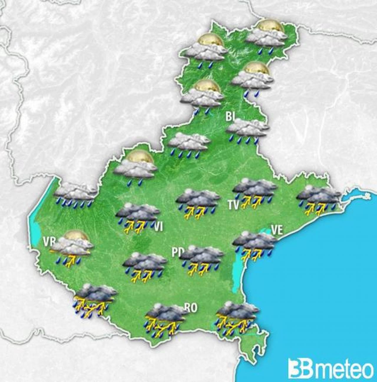 Evoluzione meteo prevista per il tardo pomeriggio-sera di sabato in Veneto
