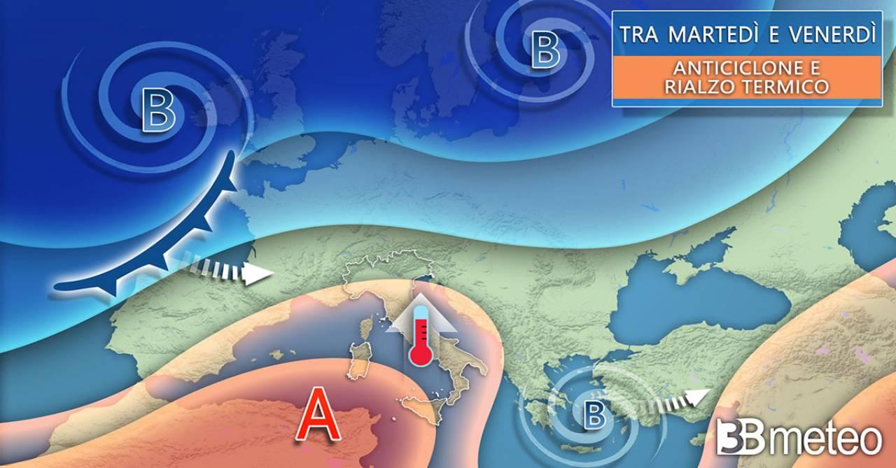 Evoluzione meteo tra martedì e venerdì