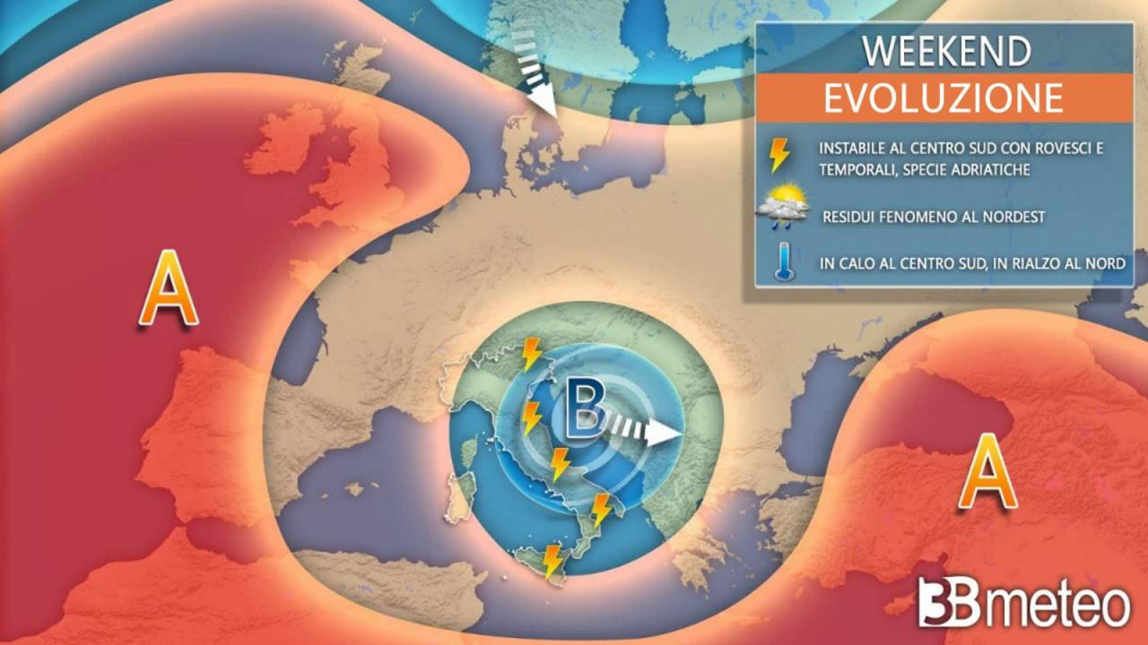 Evoluzione meteo weekend 17/18 luglio