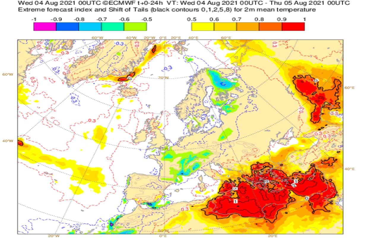 Extreme Forecast Index di Ecmwf