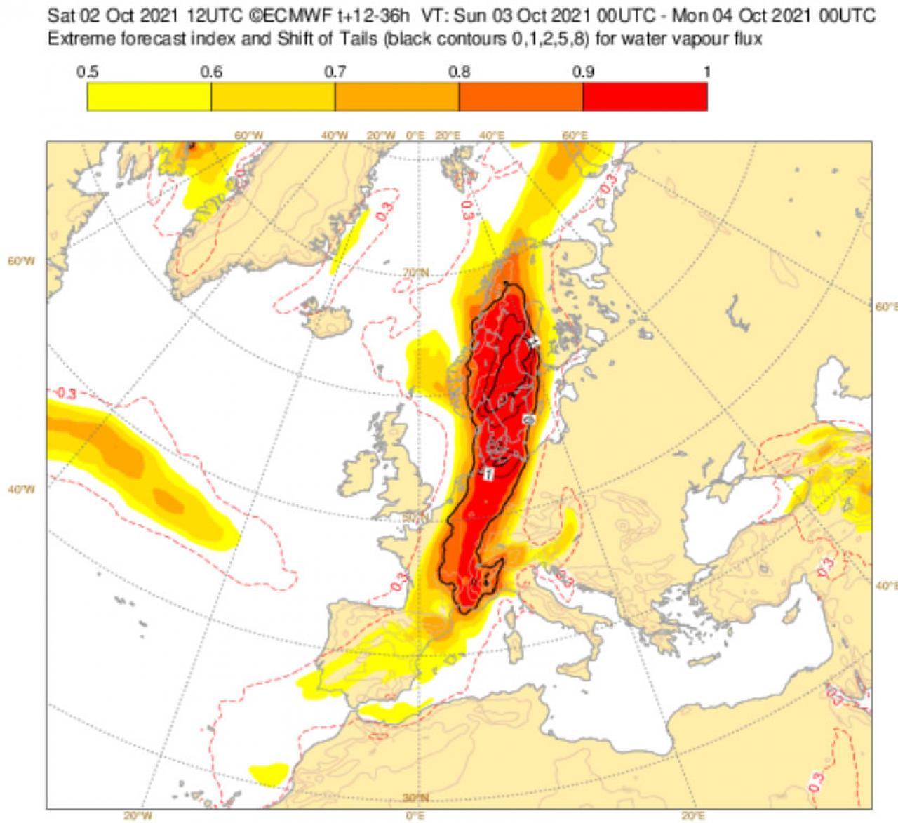 Extreme Forecast Index per flusso di vapore secondo Ecmwf