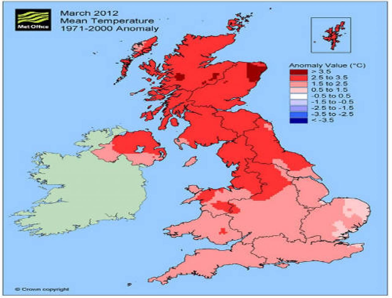 Clima regno unito marzo 2012 il pi caldo dal 1957 3b meteo - Mappa dell inghilterra per i bambini ...