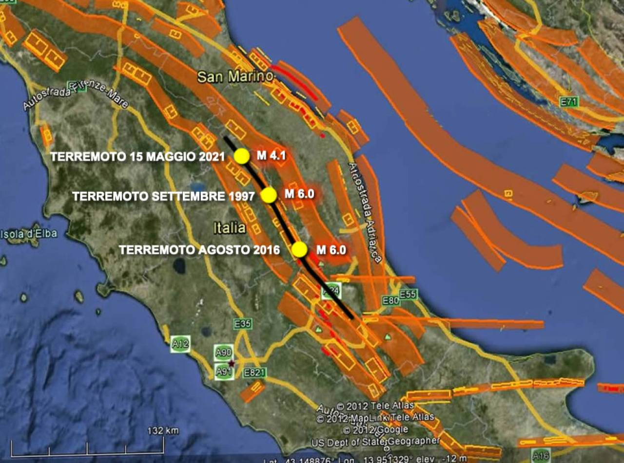 Faglie dell'Italia centrale ed epicentri dei terremoti forti più recenti