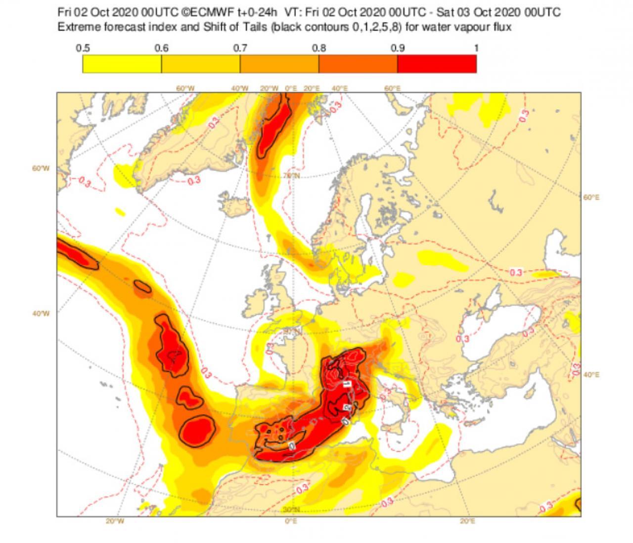 flusso di vapore insolito secondo l'EFI di Ecmwf