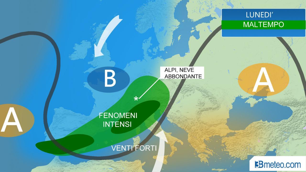 METEO ITALIA: lunedì MALTEMPO al Nord e Toscana, FORTE VENTO al Centrosud