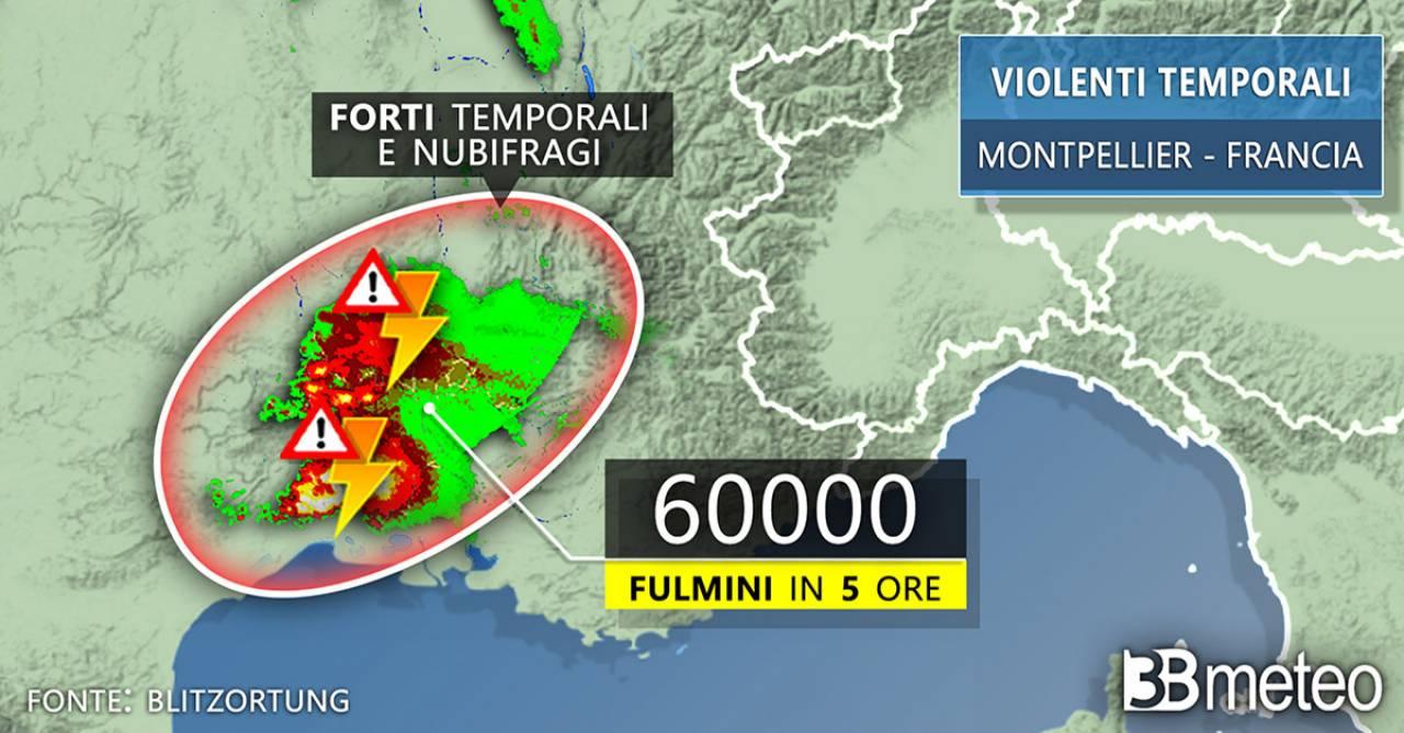 Francia, temporali, fulmini e inondazioni nel sud