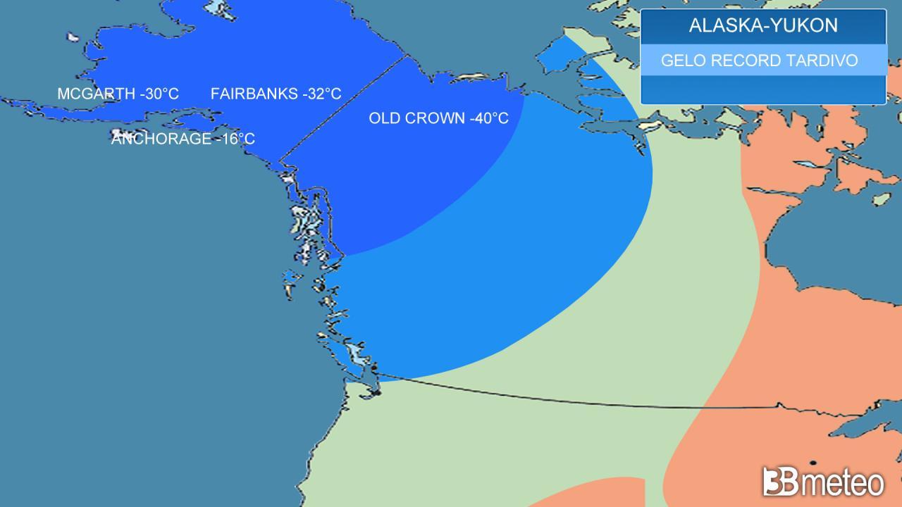 gelo record in Alaska e Yukon