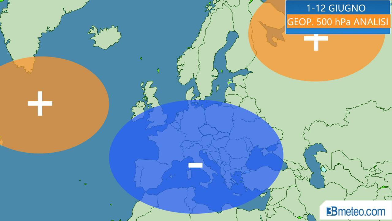 giugno 2020: anomalie geopotenziale a 500 hPa