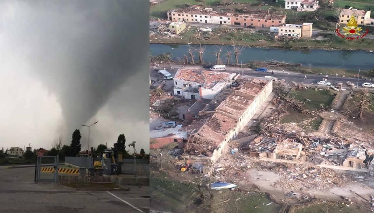 Il tornado di Dolo-Mira a sinistra, a destra la Villa distrutta