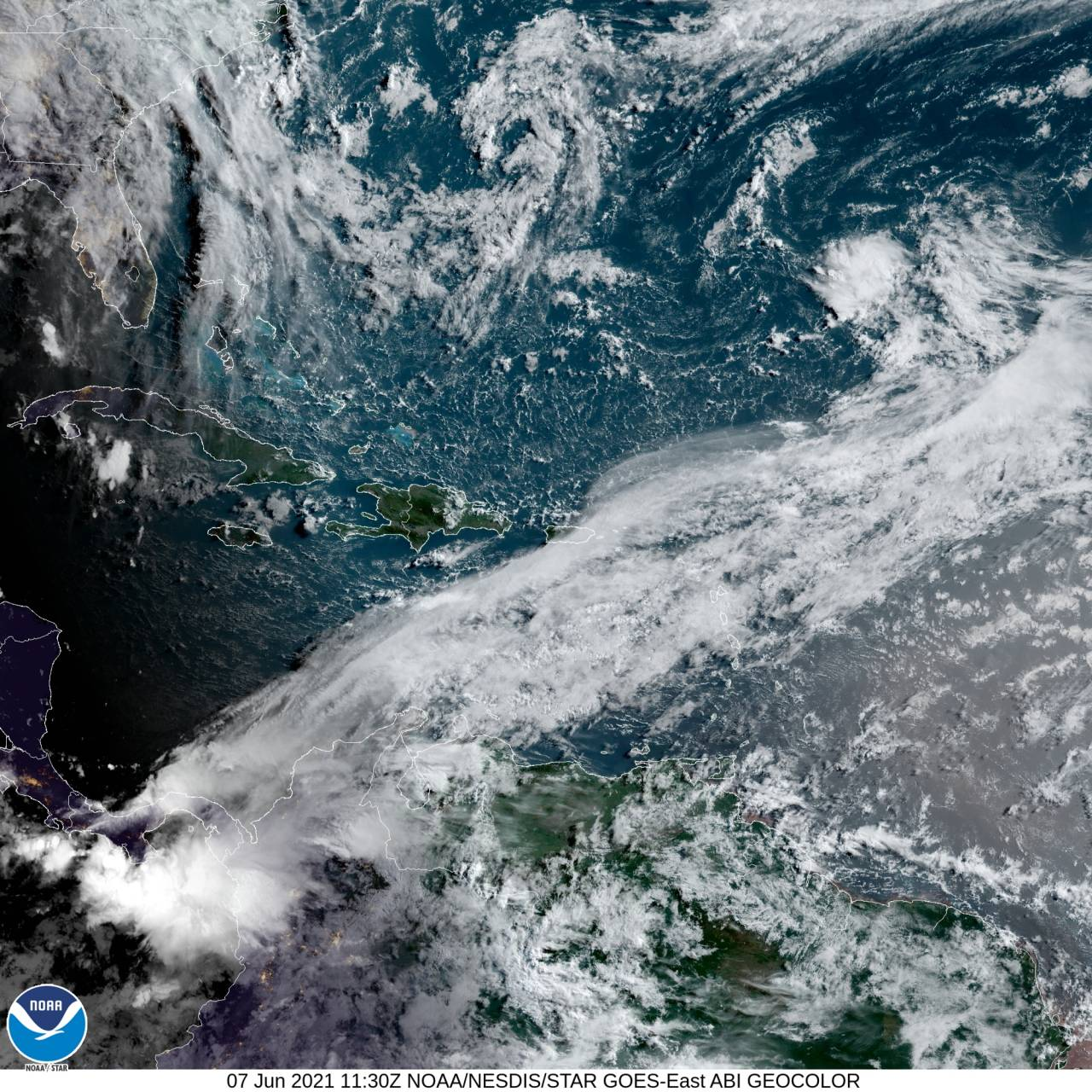 Immagine satellite 7 giugno sul Mar dei Caraibi (Fonte NOAA)