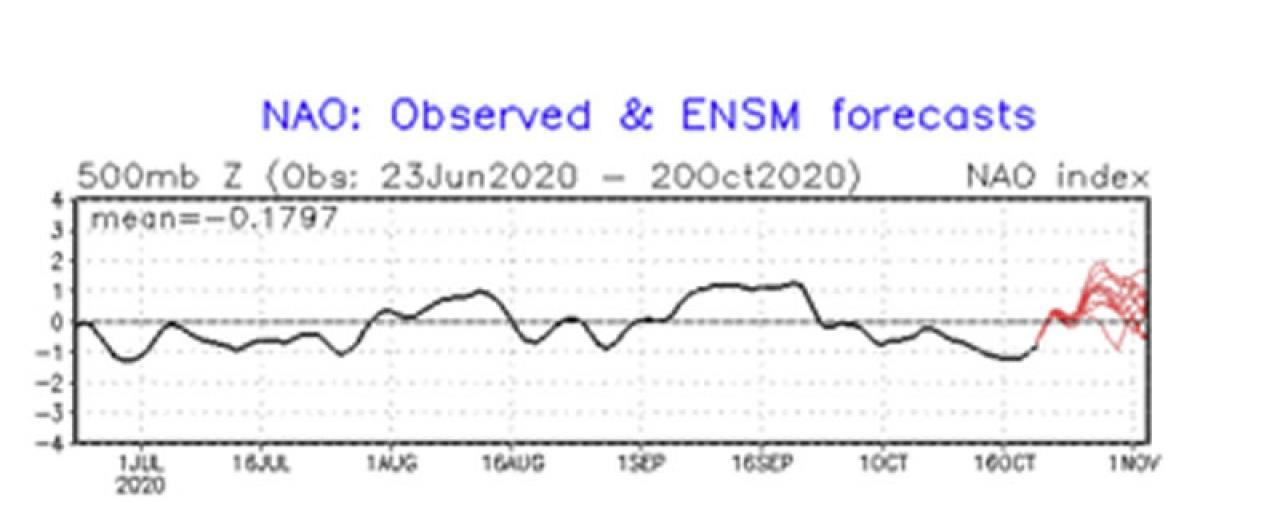 indice NAO atteso positivo per fine mese con un picco